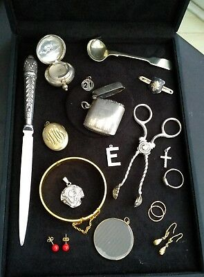 antique silver / plated.gold ..RG. vesta .sovereign case jewellery etc job lot