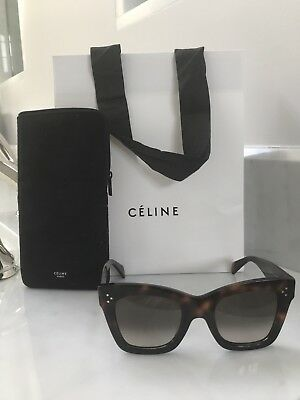 AUTHENTIC Celine Sunglasses 41089 Brown Gold square Catherine dark Havana black