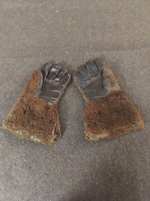 Antique Buffalo Hide Gloves Bison Robe Fur Trade