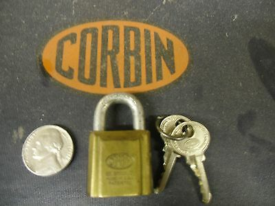 CCL CORBIN CABINET LOCK VINTAGE OLD STYLE MAILBOX MINI BRASS PADLOCK with 2 KEYS