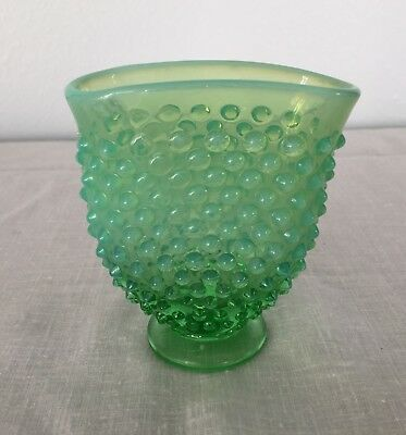 Fenton Green Hobnail Opalescent Miniature Footed Vase