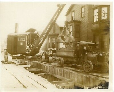 Vintage 8x10 Photo Marion Osgood Steam Shovel 18 at Work in City Old Dump Truck