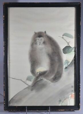 ANTIQUE 19TH C. SIGNED FRAMED JAPANESE PAINTING of SNOW MONKEY