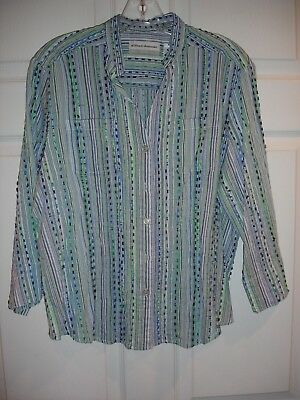Alfred Dunner Women S Top Button Down Blouse Petite 14p Gray Green