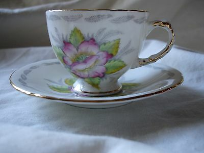 Vintage H&m Sutherland Bone China Coffee Cup And Saucer With Pink Flower Design