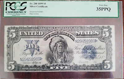 1899 $5 dollar silver certificate Indian Chief PCGS VF35 PPQ