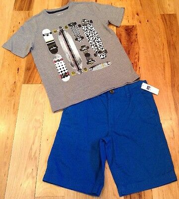 Gap Kids Boys Size 7 Outfit. Skateboard Shirt & Blue Shorts. Nwt
