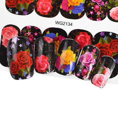 Gorgeous Rose Beauty Black Nail Art Water Transfer Decals Decoration Stickers