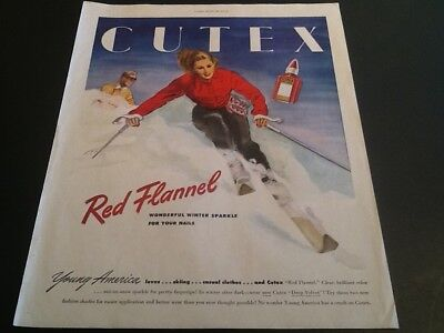 1946 Original Vintage Magazine print AD CUTEX Red cosmetic Woman Ski theme