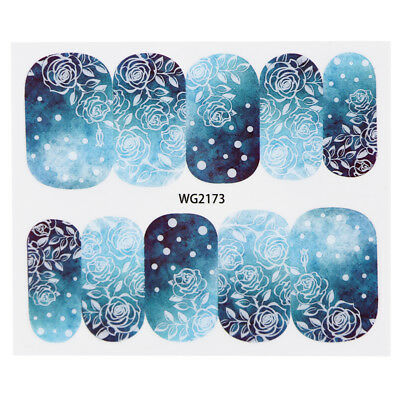 Rose Beauty Blue Nail Art Water Transfer Decals Decoration Stickers Diy Tips