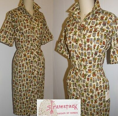 "Vintage 1950's Novelty Print ""strawstack"" New Old Stock Sheath, Large, Bust 38"""
