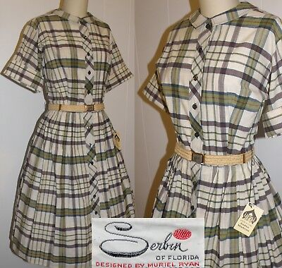 "Vintage 1950's New Old Stock Dress, Large, Bust 38"", Front Button, Full Skirt"
