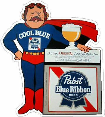 "PABST BLUE RIBBON, Cool Blue MAN VINYL STICKER, 4"" x 3-1/2"""