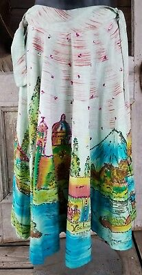 Vintage 60s Hand Painted Mexican Circle Skirt Sequined Small Ethnic
