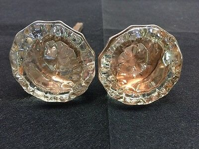 Antique Vintage  12 Point Glass Door Knobs - 1920's - Rare
