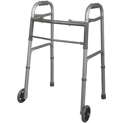 """Carex Health Brands Carex Dual button Folding Walker with 5"""" Wheels and Glides="""
