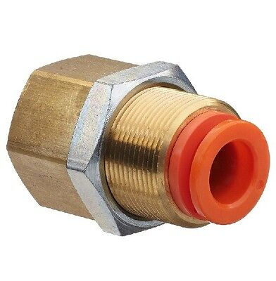 """SMC KQ2E16-04A Brass Push-to-Connect Tube Fitting, Connector,16mm X 1/2""""="""