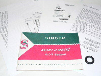 Original MANUAL Singer 403 Sewing Machine with Tension Attachment Instructions