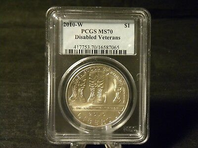 2010 Disabled Veterans Commemorative Silver Dollar PCGS MS 70