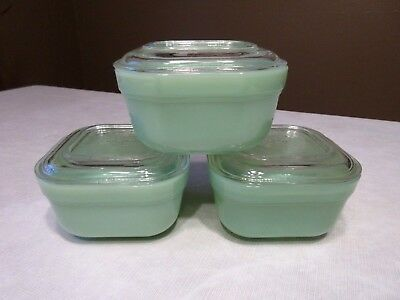 Vtg Fire King Jadeite Square Refrigerator Dishes with Clear Lids - 6 pcs.