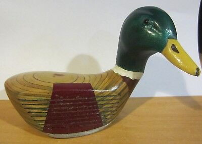 Hand Carved Golf Club Duck Decoy paperweight - mallard duck