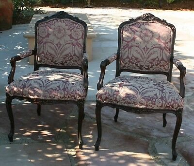 Pair of Louis XV Style Open Armchairs. Custom Upholstered. Good Condition.