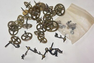 Vintage Clock Movement Parts Gears Wheels AS IS PARTS repair project # 2a ..