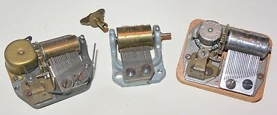 Lot of 3 Vintage Reuge Baby Swiss Music Box Movement  AS IS for parts repair