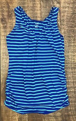 Motherhood Maternity Nursing Tank Top Shirt Striped Blue Elastic Neck Sz Small S