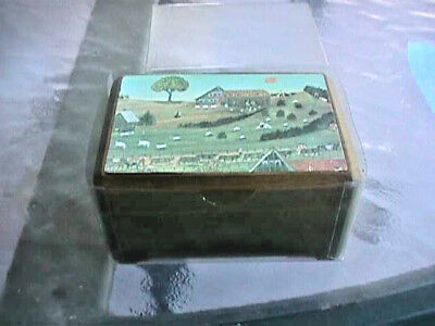Wooden REUGE MUSIC BOX SWITZERLAND primitive farm scene