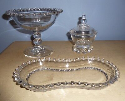 """Vtg Imperial Glass Candlewick 4 1/2"""" Compote + Mustard Condiment Jar + S/c Tray"""