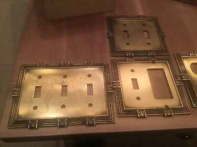 Vintage Brass Light Switch Plates & Covers- 5 included