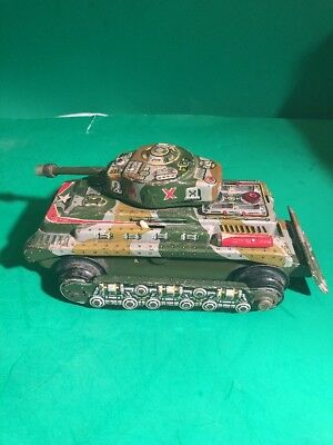 Vintage Battery Operated Tin Tank Marx Toys Made In Japan Not Working