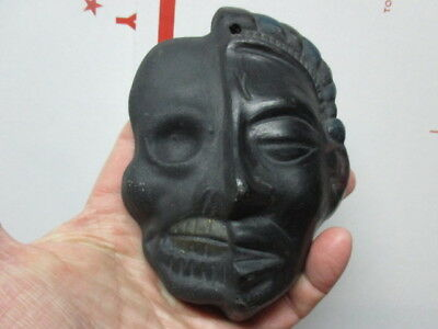 Japanese antique vintage clay pottery Mask Skull Devil