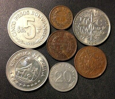 Vintage Bolivia Coin Lot - 1939-Present - 7 Rare Collectible Coins - Lot #J14