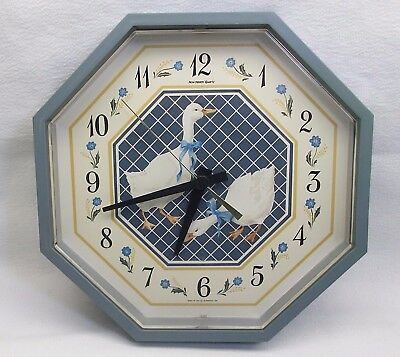 """Vintage 1987 Burwood New Haven Quartz Octagonal Wall Clock Geese 10"""" Made In Usa"""