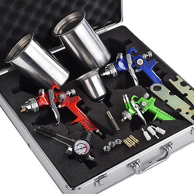 3 HVLP Air Spray Gun Kit Auto Paint Car Primer Detail Basecoat Clearcoat