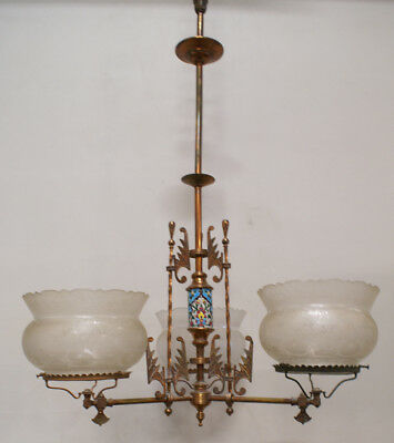 3-arm Aesthetic Gas Fixture Longwy Etched Shades 1880's eastlake chandelier