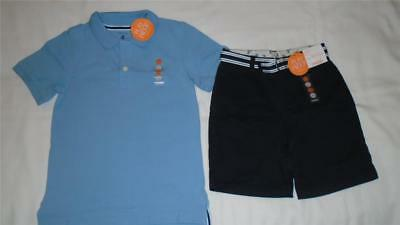 NEW Boys Size 6 Gymboree Outfit LT Blue Polo Shirt & Navy Shorts Uniform $42 NWT