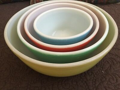 """Vintage Set Of 4 Pyrex Primary Colors """"Mixing Bowls"""""""