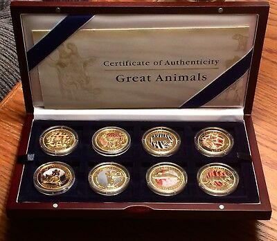 Set of 8-2009 Fiji Islands Animals of The World $1 Gold Plated CuNi Coins