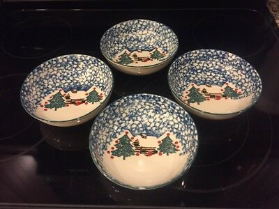 "Set of 4 Folk Craft Cabin in the Snow Soup Bowls 6 1/2"" Tienshan Christmas"