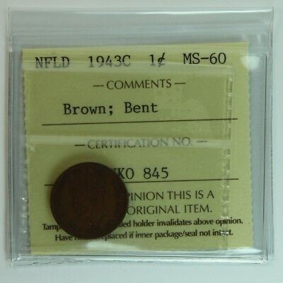 1943 Newfoundland Nfld 1 Cent Iccs Graded Penny Ms60