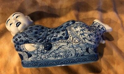 ANTIQUE CHINESE PORCELAIN Ceramic OPIUM Pillow Blue And White Boy...D19