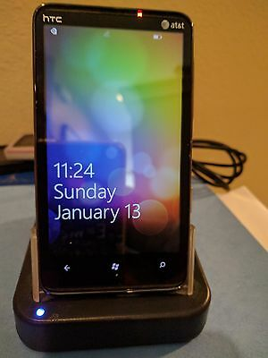 HTC HD7S T9295 AT&T Smartphone Windows Touch Black GSM Excellent in box w/ dock