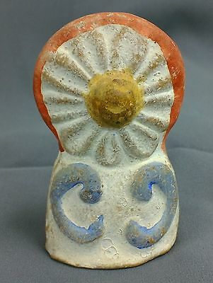 EARLY Painted CHALKWARE Whistle Daisy flower RARE FORM Folk Art figurine