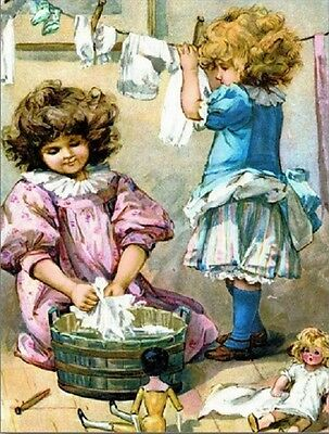 """+PC-Postcard-""""Two Little Girls Play with Dolls""""...Washing their Clothes- (B510)"""