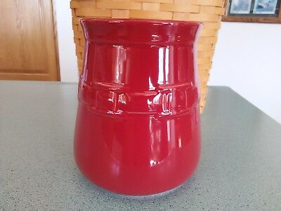 Longaberger Pottery Kitchen Crock in Tomato red NEW in box Utensils fit great!