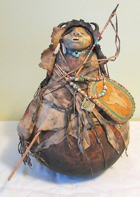 "Robert Rivera, Painted and Decorated Gourd, ""Buffalo Chante"""