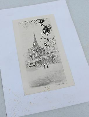 Old Black White Art Print French Made Church SIGNED Richy Beautiful Ink Drawing